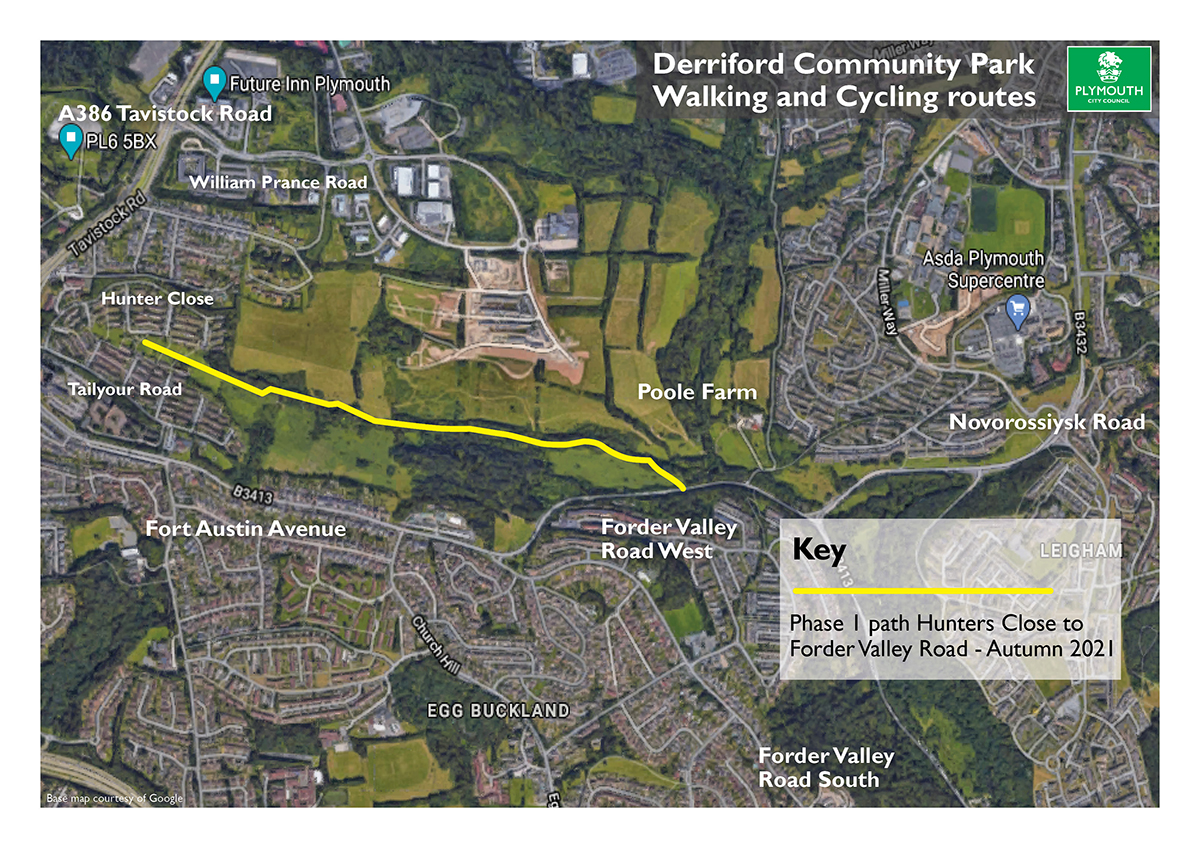 A map that shows the new walking and cycle scheme between Crownhill and Forder Valley