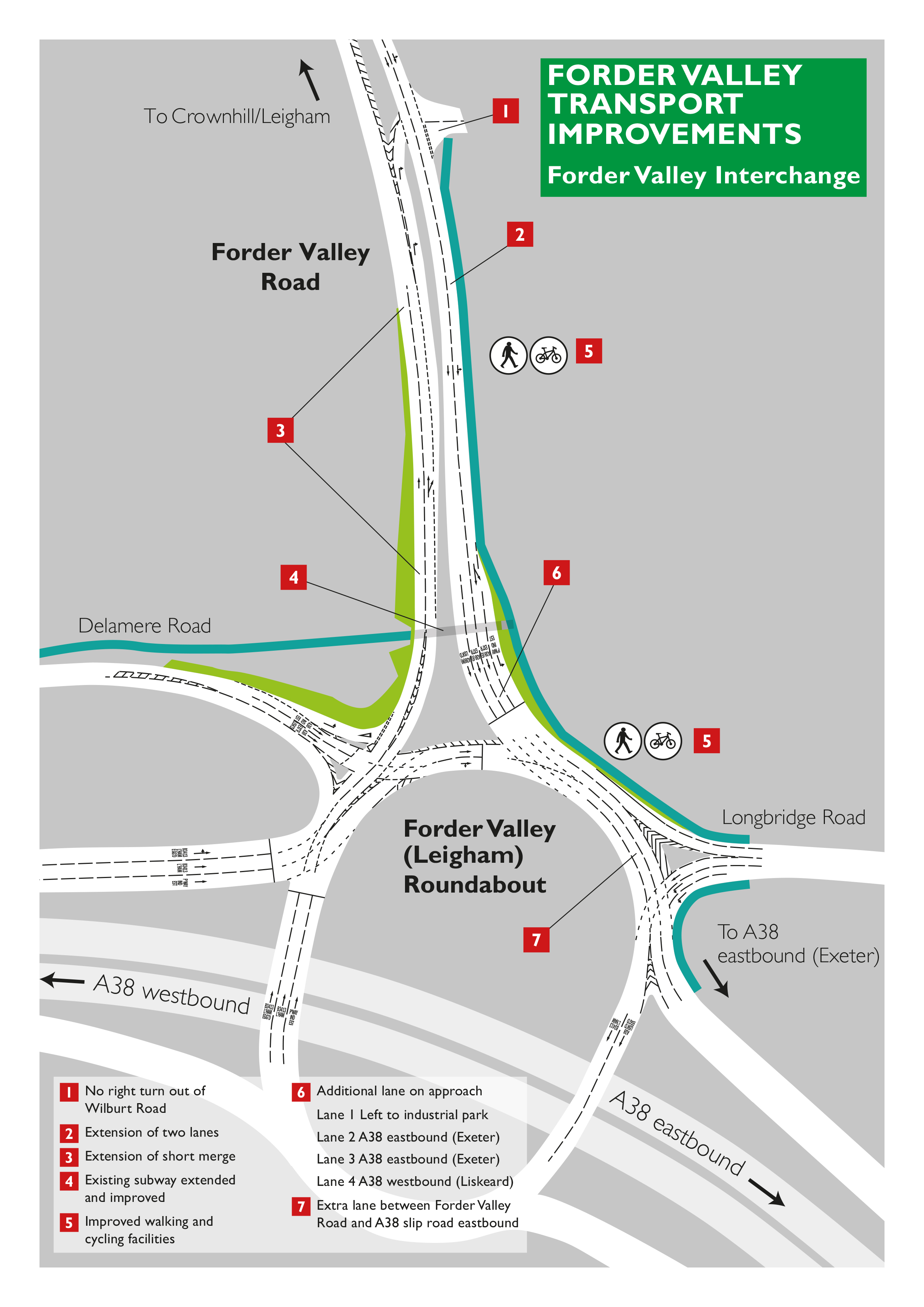 Infographic showing changes to roundabout
