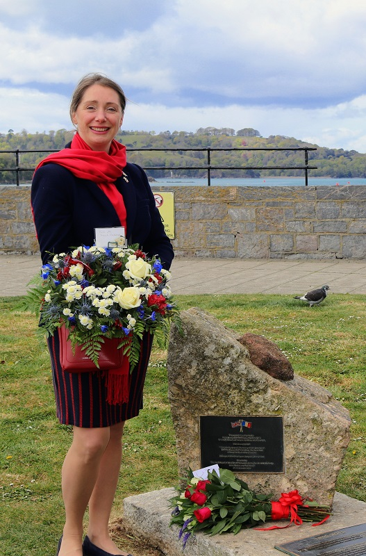 French Consul, Stephanie D'Haussey laid wreaths at the Napoleon Monument
