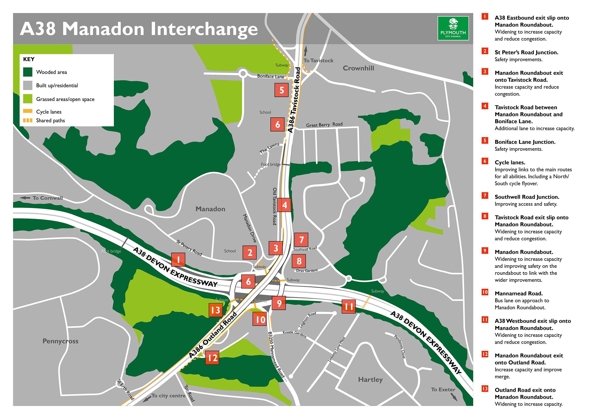Manadon Interchange Annotated Map