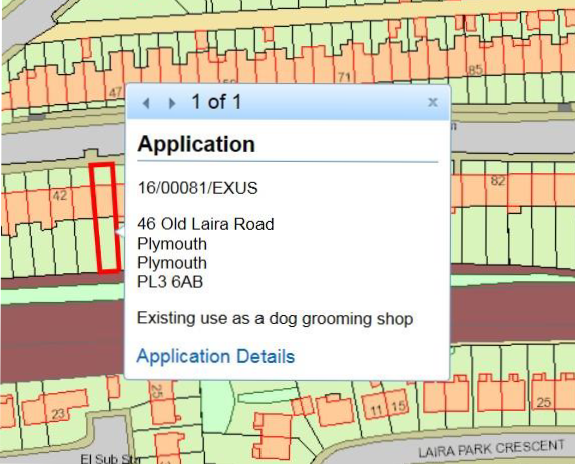 A picture of a map from the planning application database (Public Access). It shows a map of a street with a red box around where planning applications are listed. It also shows that when you click on the red box you get the address and application number