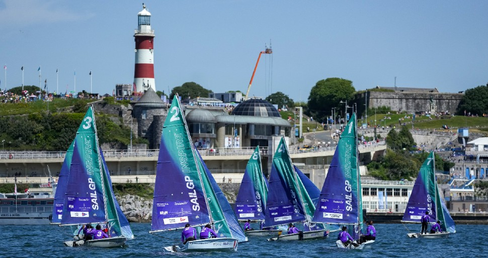 SailGP Inspire yachts sailing in front of Plymouth Hoe