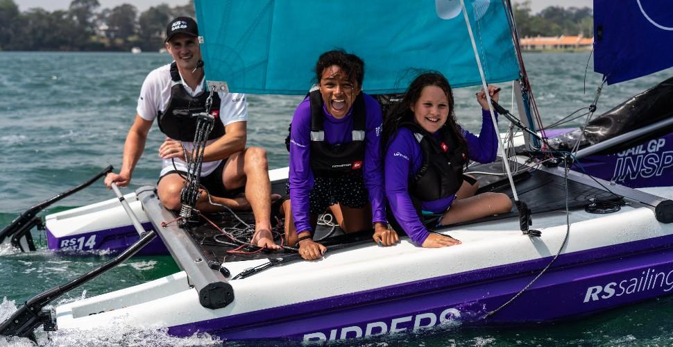 Children sailing as part of the SailGP Inspire programme