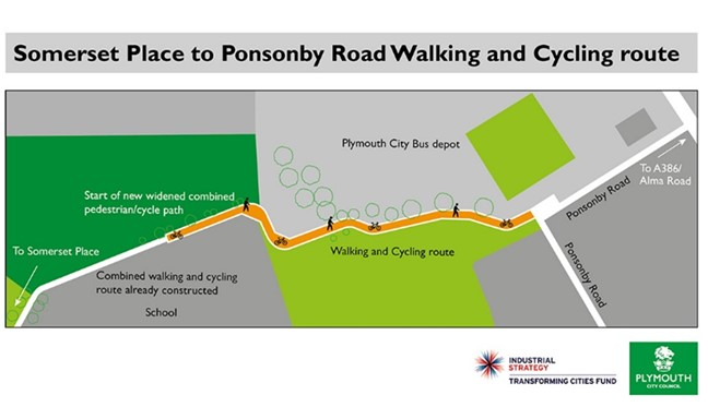 Map highlighting walking and cycling route improvements