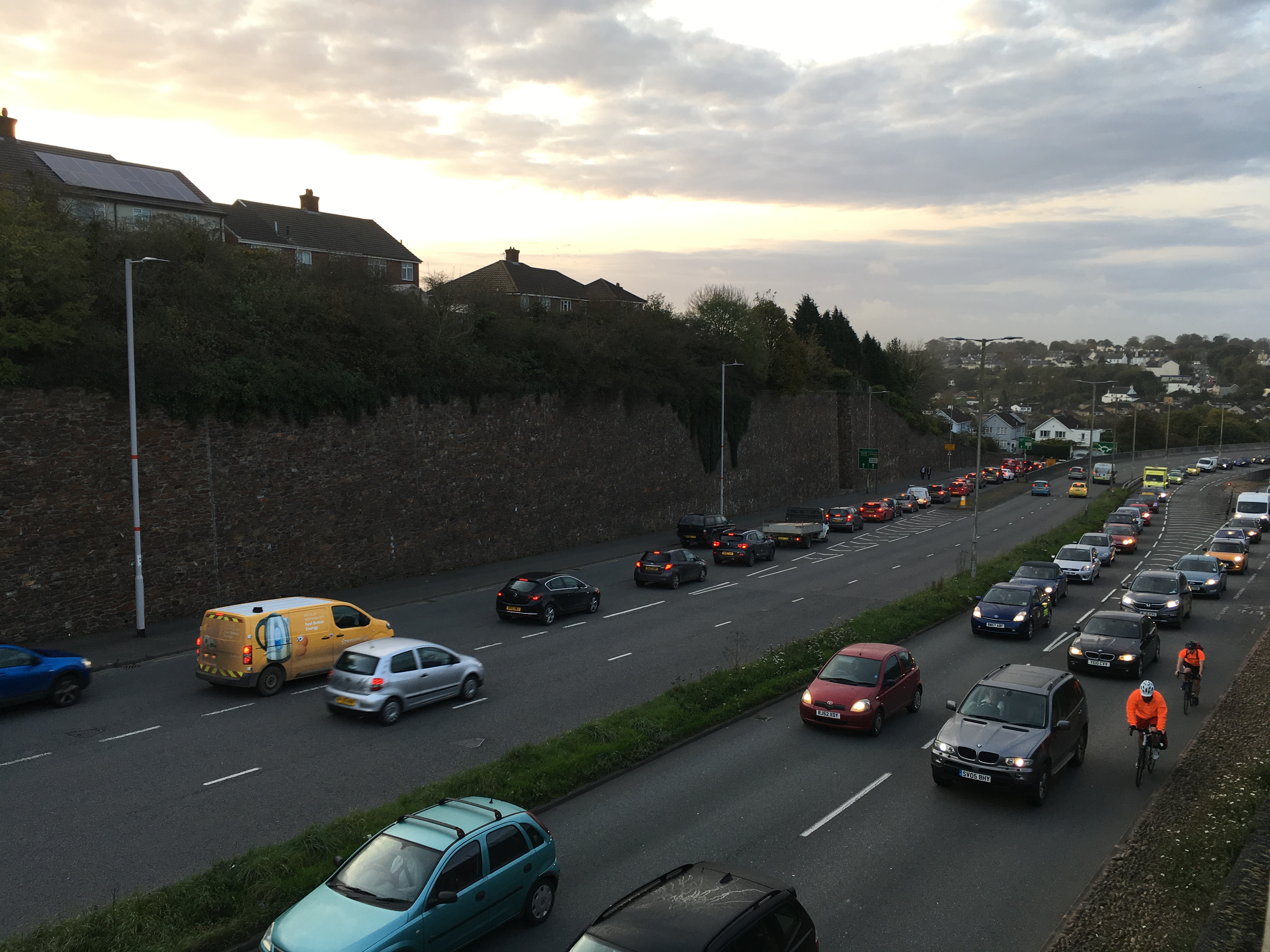 Photo showing traffic queuing from Manadon Roundabout back onto Tavistock Road