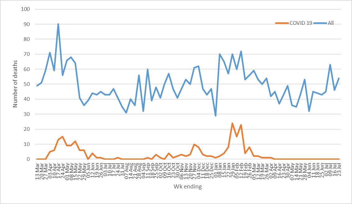 graph showing the number of covid related deaths in Plymouth