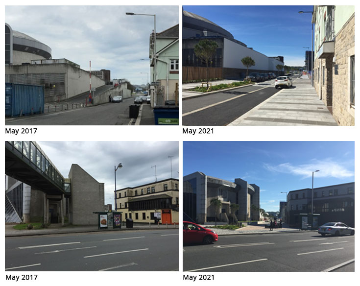 Before and after picture of Millbay Boulevard