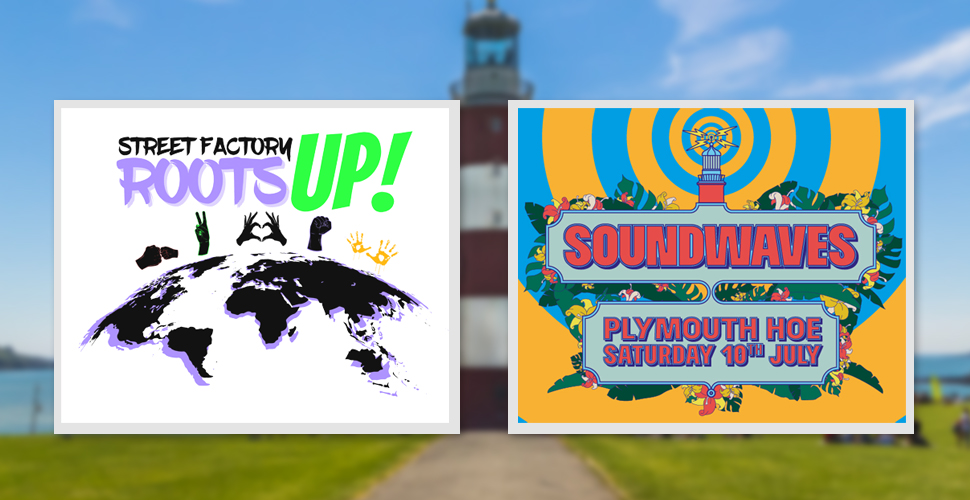 Graphic of Roots Up! and Soundwaves Festival logos