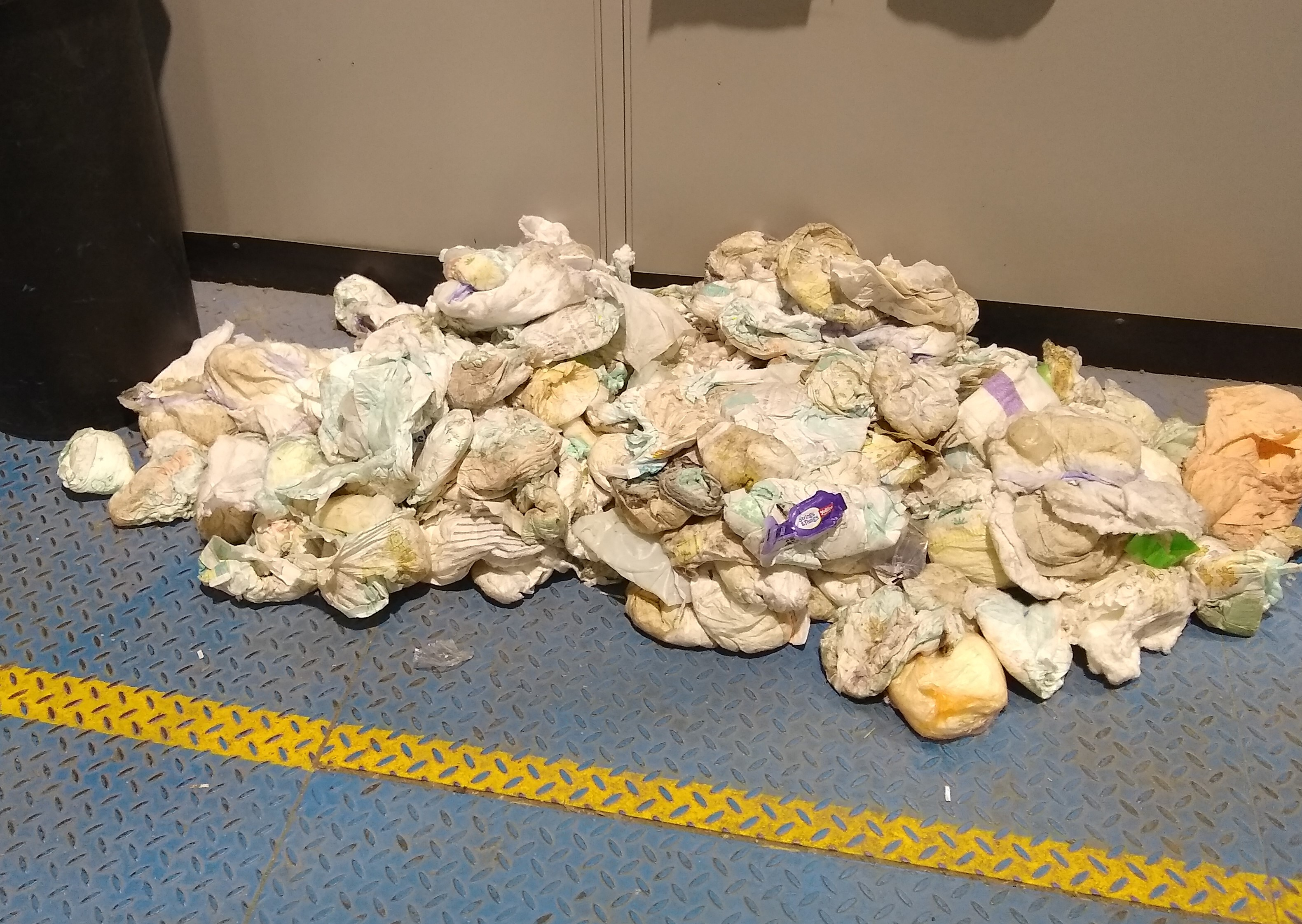 Photo taken at recycling plant of nappies pulled from the line in three hours