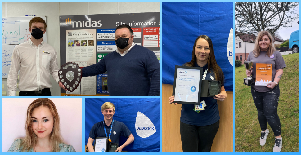 The five Plymouth apprentice award winners with their awards