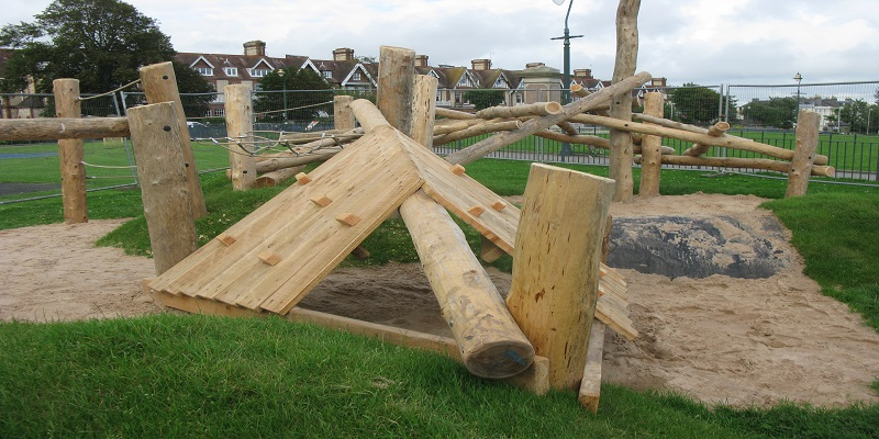 wooden obstacle course in freedom fields