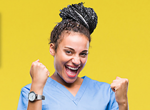 image of a woman in scrubs cheering