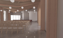 An artists impression of a service room inside the new crematorium