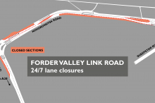 Map of Forder Valley lane closures