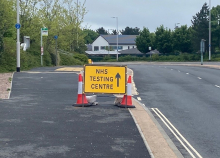image of a sign saying NHS testing centre