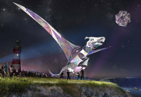 Artist's impression of the Hatchling dragon on Plymouth Hoe